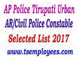 AP Police Tirupati Urban AR/Civil Police Constable Selection List 2017 Merit List Marks