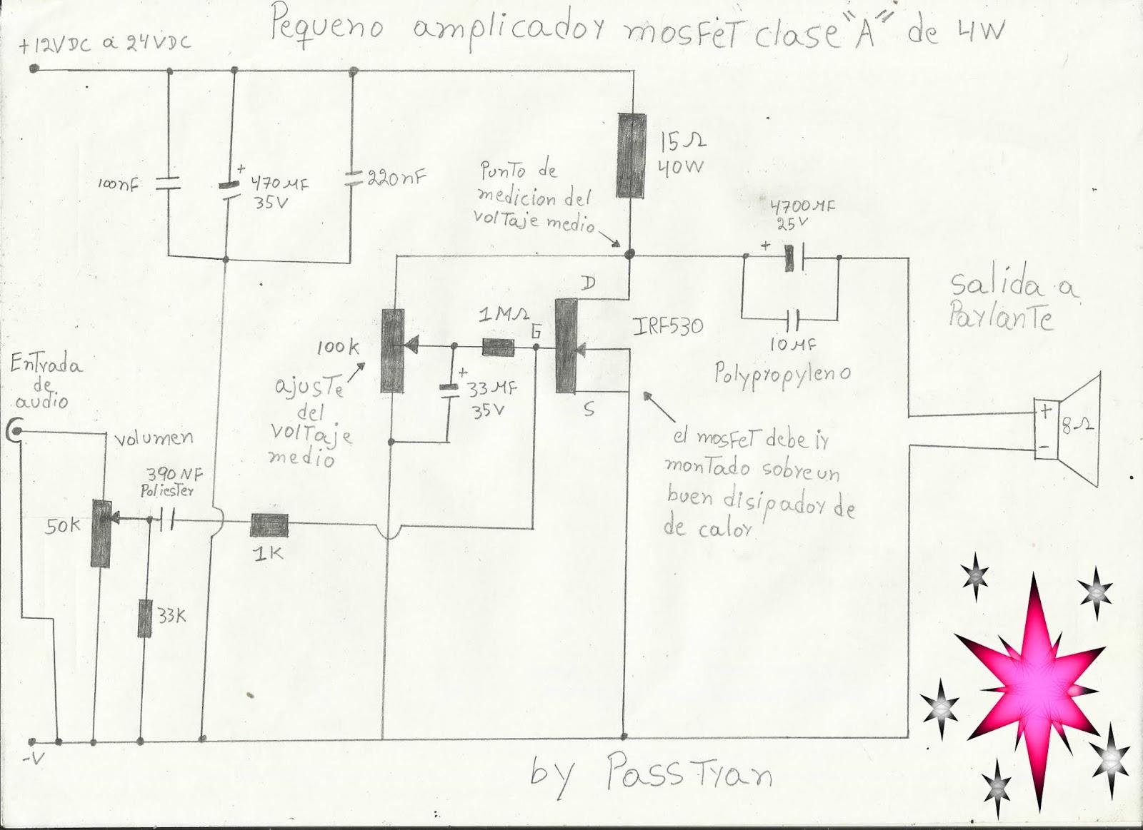 Ponyelectronica Amplificador Mosfet Clase A De 4w