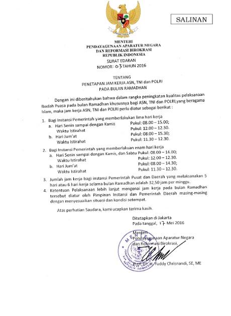 Surat Edaran MENPAN-RB Nomor 03 Tahun 2016 Tentang Penetapan Jam Kerja ASN, TNI dan POLRI Pada Bulan Ramadhan