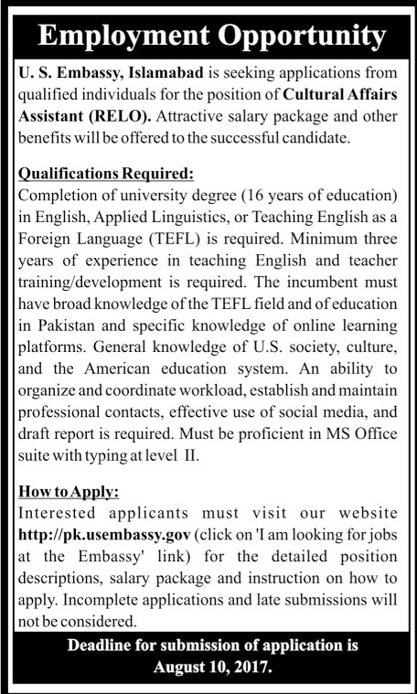 Cultural Affair Assistant Jobs In US Embassy Islamabad 30 July 2017