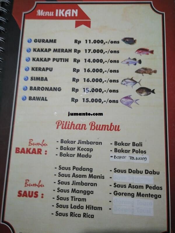 daftar menu makanan ikan bakar gembul