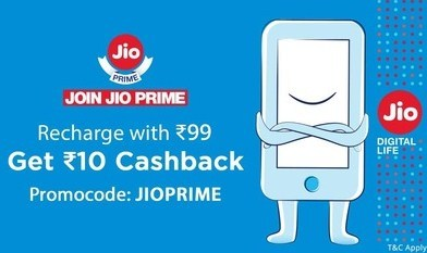 Jio Recharge Rs. 10 Cashback on Rs. 99, Rs. 30 off on Rs. 303 & above Plans – Paytm