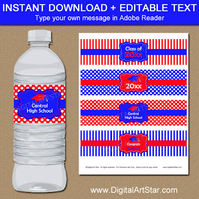 red and royal blue gradution water bottle labels - editable PDF file