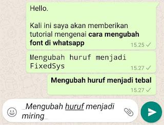 cara mengubah tulisan menjadi miring di whatsapp