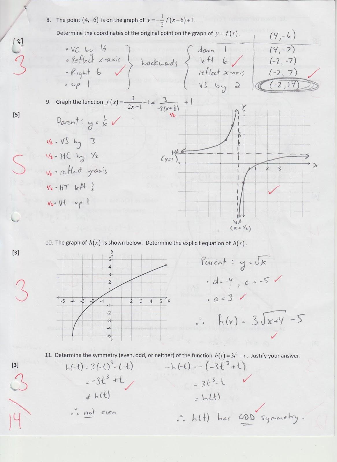 Grade 11 pre-AP Math: Test Solutions