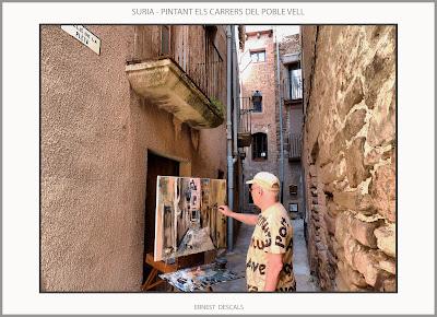SURIA-PINTURA-POBLE VELL-PINTANT-CARRERS-PAISATGES-HISTORIA-FOTOS-QUADRES-ARTISTA-PINTOR-ERNEST DESCALS-