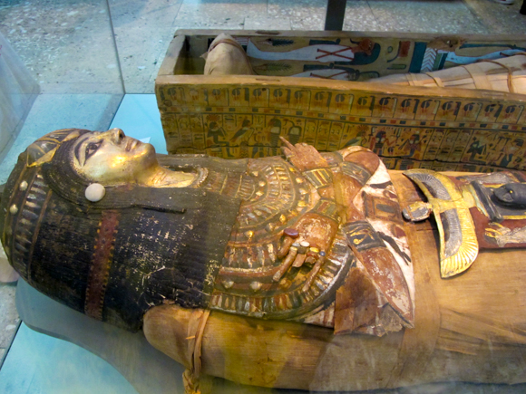 Mummy and cartonnage case.
