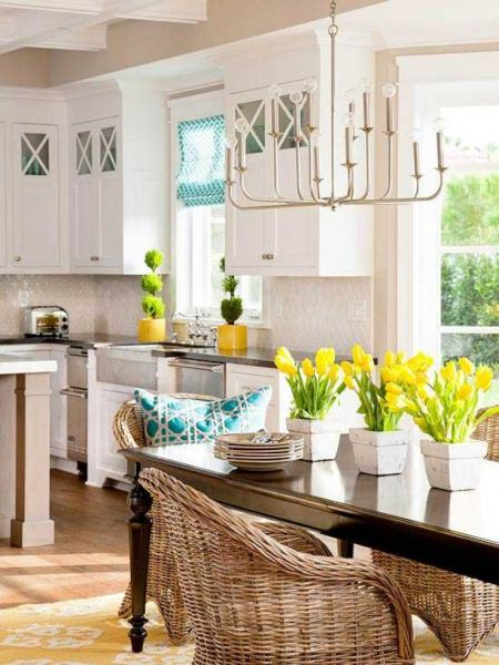 classic white kitchen with yellow tulips