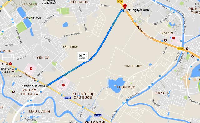 Tuyến đường kết nối giữa khu đô thị Xa La và Nguyễn Xiển
