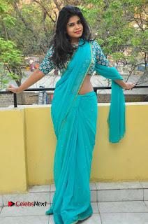 Telugu Actress Alekhya Stills in Green Saree at Swachh Hyderabad Cricket Press Meet  0084.JPG