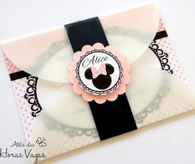 convite de aniversário artesanal infantil loja de laços minnie mouse delicado provençal poá rosa branco preto disney