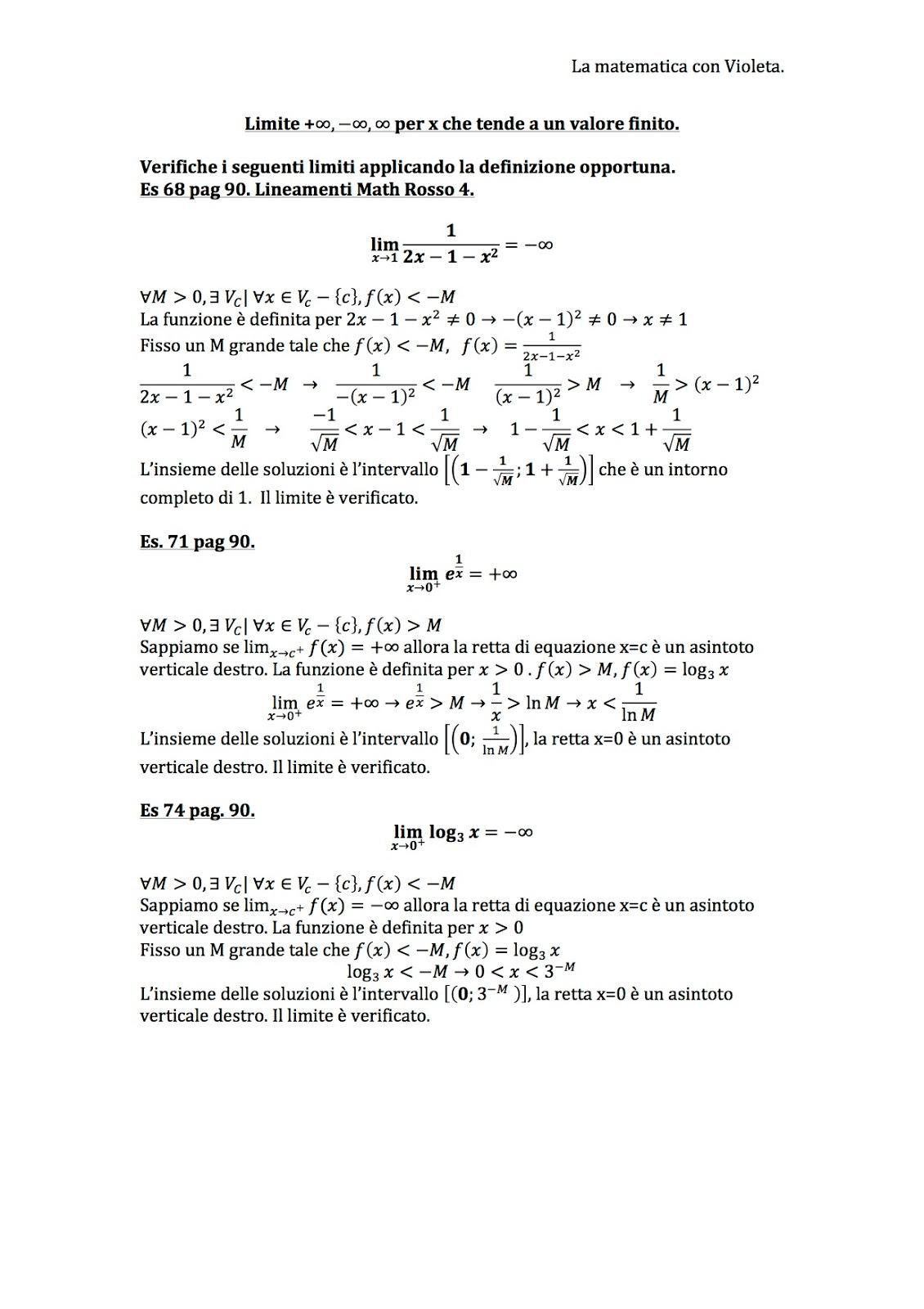 Limite Finito Per X Che Tende A Un Valore Finito.La Matematica Con Violeta Limite Per X Che Tende A Un