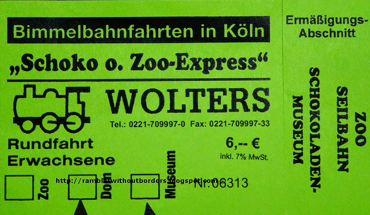 Schoko O. Zoo Express ticket, Cologne, Germany