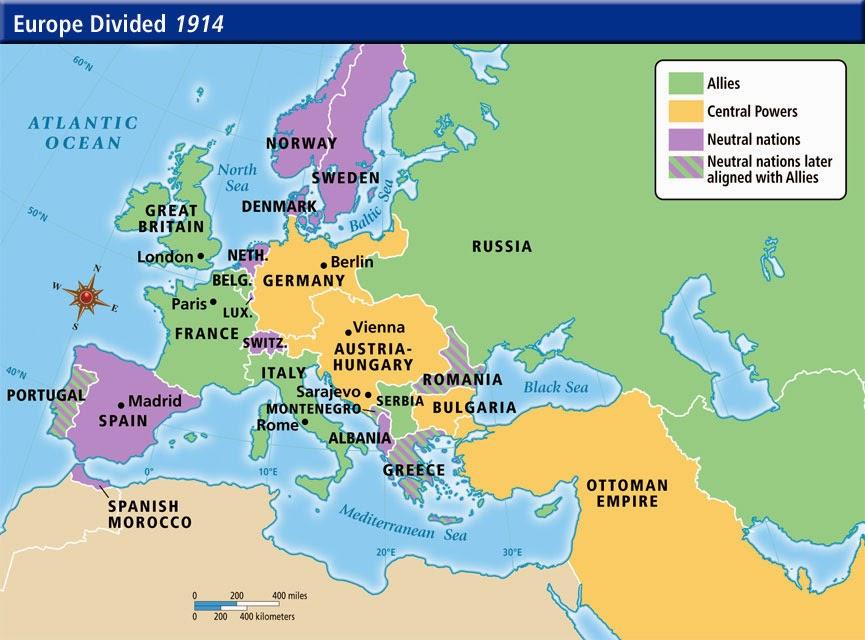 Map European Boundaries End Wwi