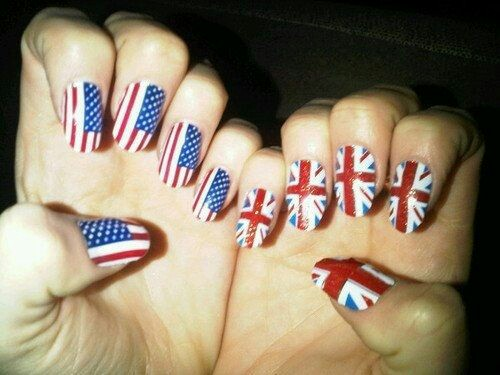 Flag nail arts desgin