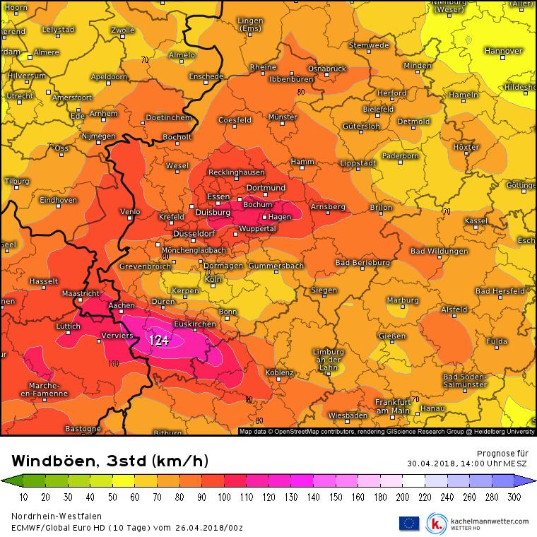 Vorhersage Sturmböen in NRW am 30.04.2018