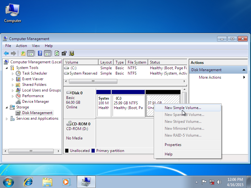 Making a new partition in Disk Management - screenshot