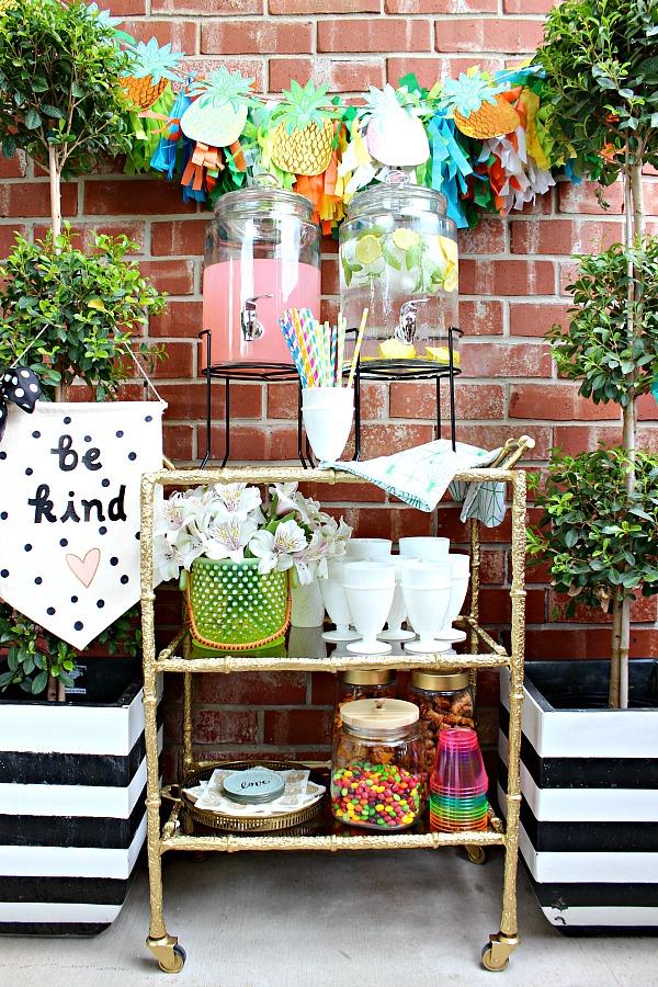 bar cart, bamboo, outdoor entertaining, beverage station