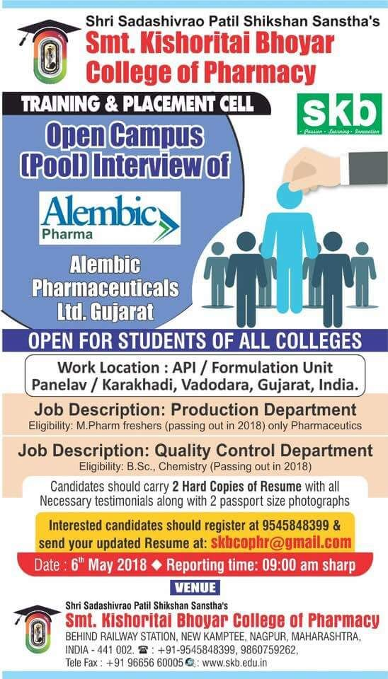 Open Campus (pool) interview of Alembic Pharma, Gujrat @Nagpur MH on 06 May 2018