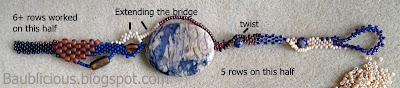 Rows 5, 6 & 7, freeform bracelet tutorial by Karen Williams, copyright 2013