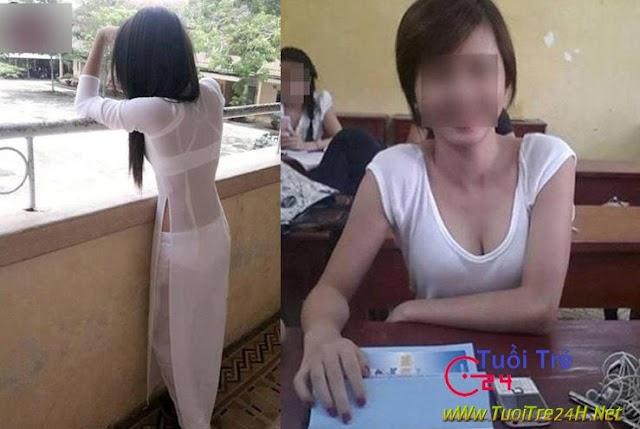 Khoe nội y, áo dài siêu mỏng, khoét ngực của sinh viên - thế này học sao nổi