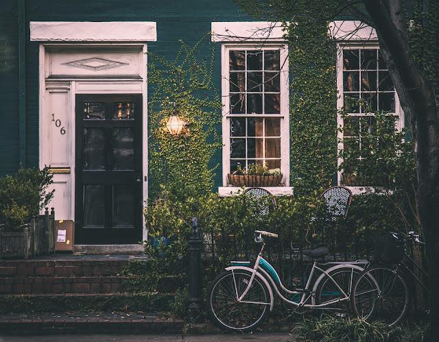 casa, bicicleta, entrada