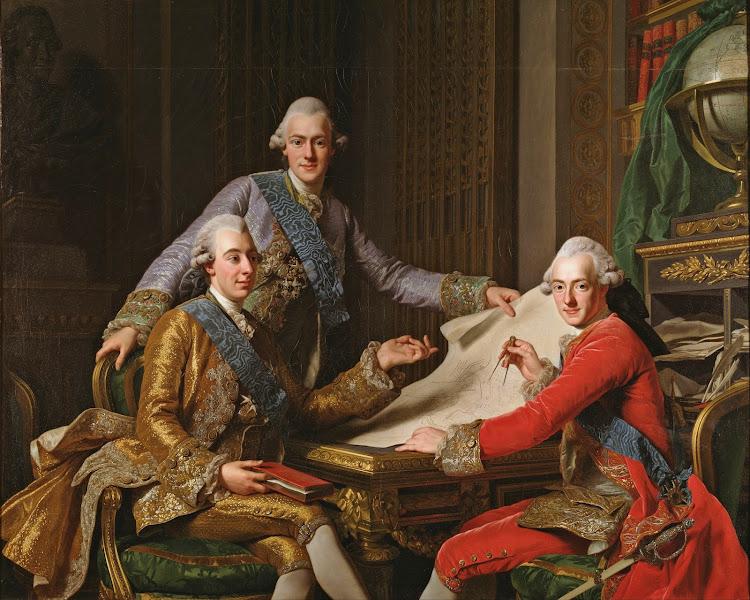 Alexander Roslin - King Gustav III of Sweden and his Brothers (1771)