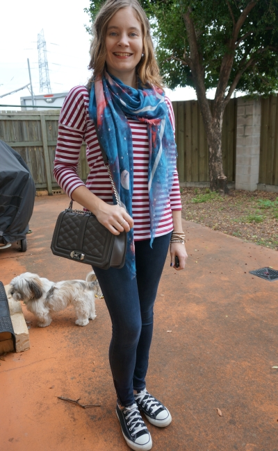 SAHM Style Print mixing Skinny jeans striped top Marc by Marc Jacobs galaxy stargazer scarf