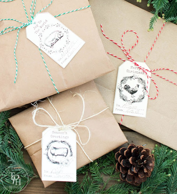 printable vintage farmhouse christmas gift tags