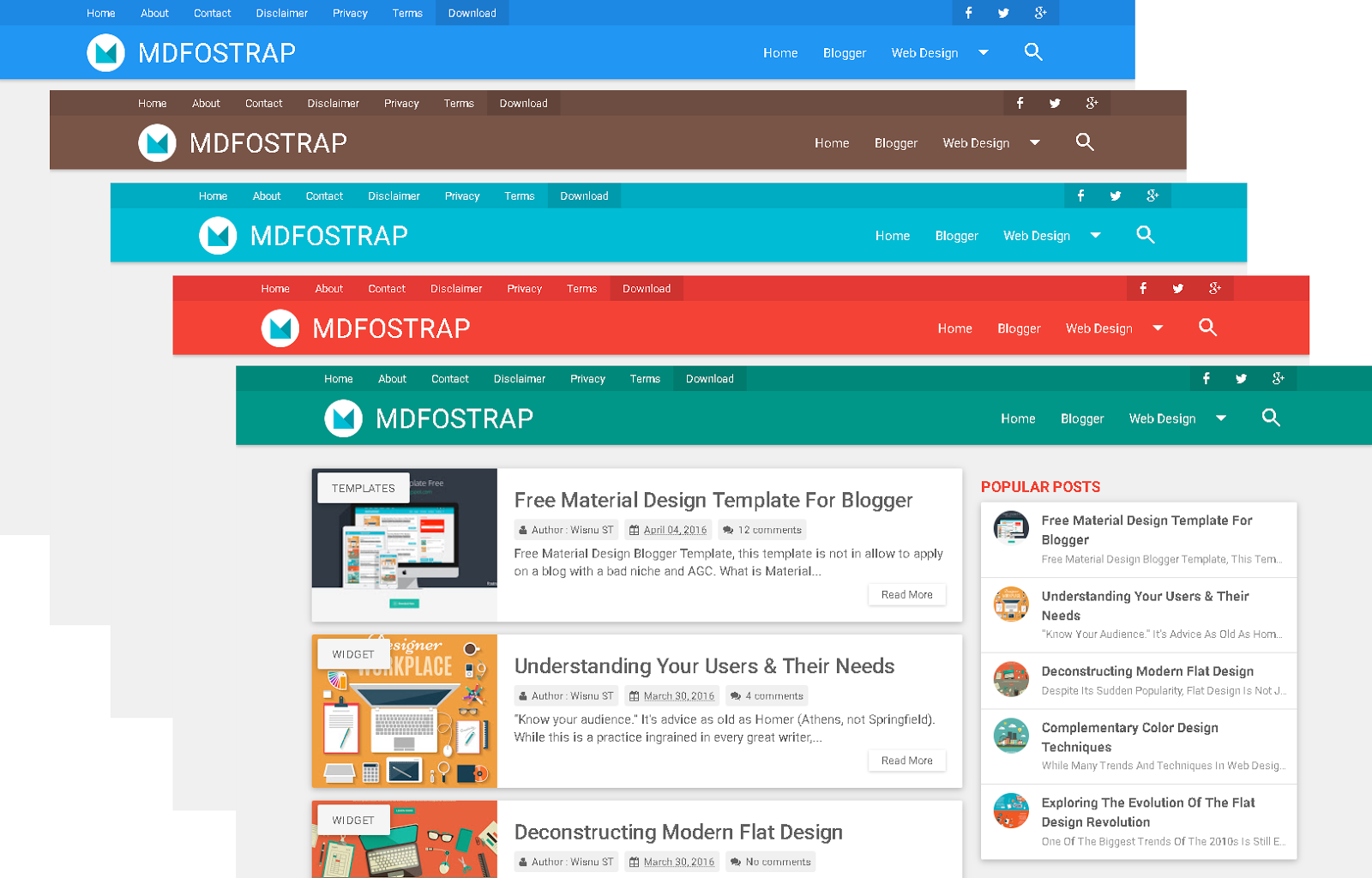 Mdfostrap material design template update hadesdzgn mdfostrap material design blogger templates is a simple clean designed with material design style and with a great responsive design maxwellsz