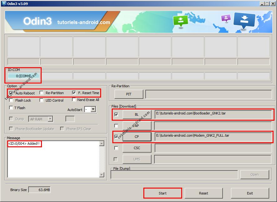 ODIN : installer BL i9505