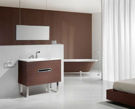 The combination of beautiful white and brown color for the minimalist bathroom.