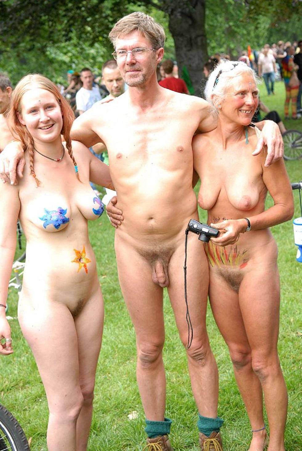 Nudist family gathering