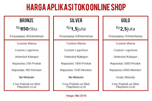 Harga Aplikasi Online Shop