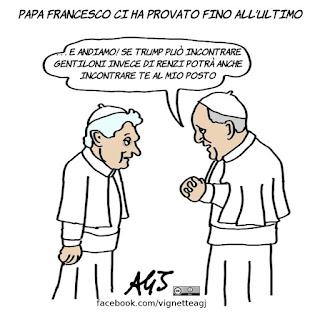 papa francesco, ratzinger, renzi, gentiloni, trump, controfigure, vignetta, satira