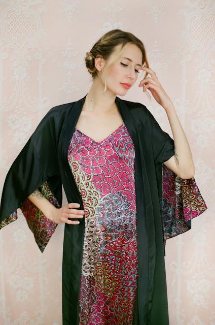 Black silk kimono, long silk kimono, black silk dressing gown, bohemian kimono