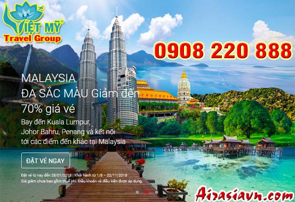 Air Asia giảm giá đến 70% đi Malaysia đa sắc màu