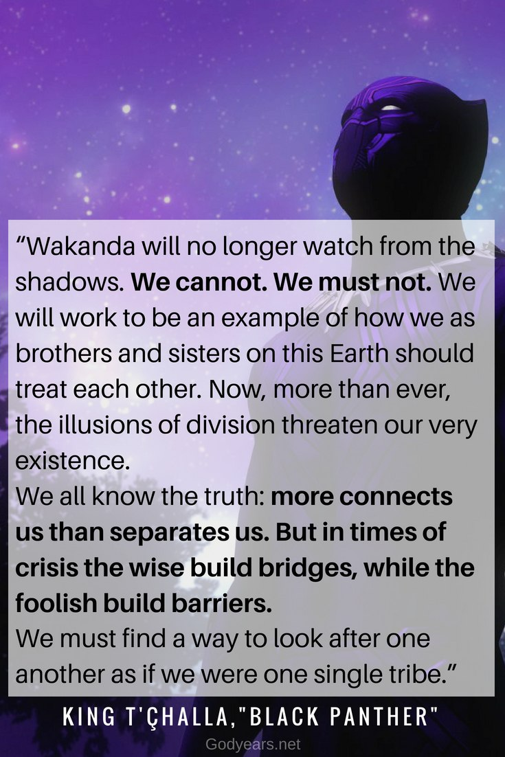 Black Panther end credit scene quote by King T'Challa at the United Nations
