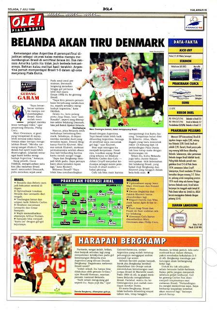 WORLD CUP 1998 SEMIFINAL BRASIL VS NETHERLAND HOLLAND