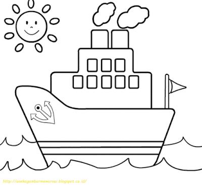 Mewarnai Gambar Kapal Laut - 13