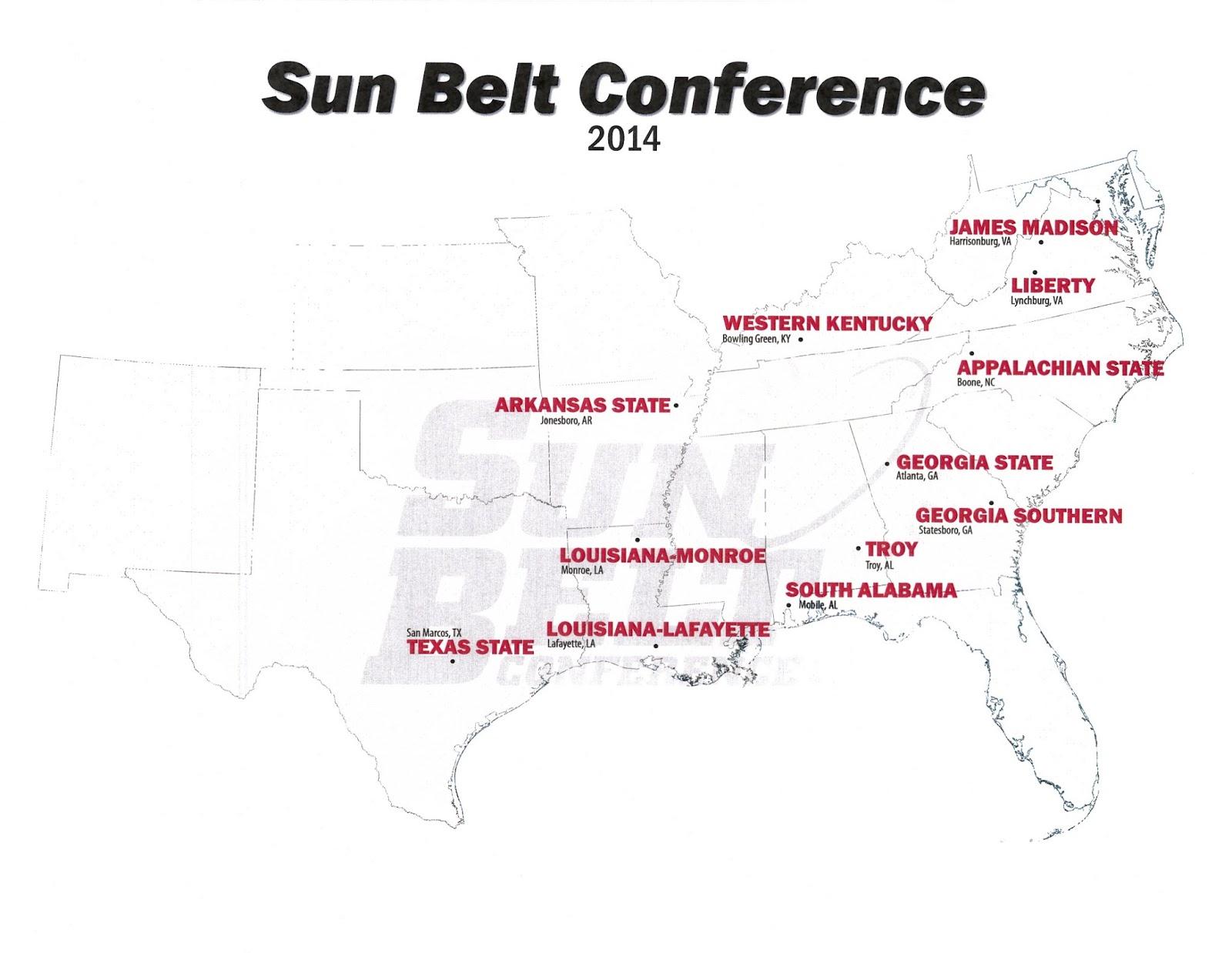Map Of The Sun Belt