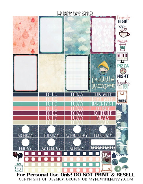 Free Printable Rainy Days Sampler for the Classic Happy Planner from myplannerenvy.com