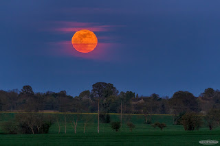 Moonrise in the countryside
