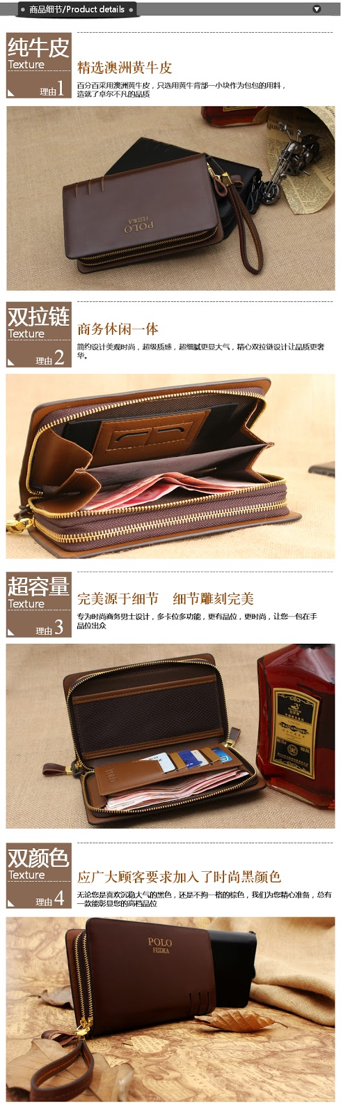 POLO FEIDKA Genuine Leather Clutch Bag Men Long Wallet Hand Carry Bag.  Leather Material - Outer Layer Leather 601dc587e6dd0