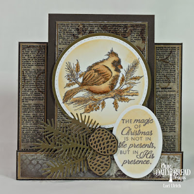Our Daily Bread Designs Stamp Set: Winter Cardinal, Paper Collections: Vintage Ephemera, Ephemera Essentials, Ovals, Double Stitched Circles, Circles, Pine Cones, Pine Branches