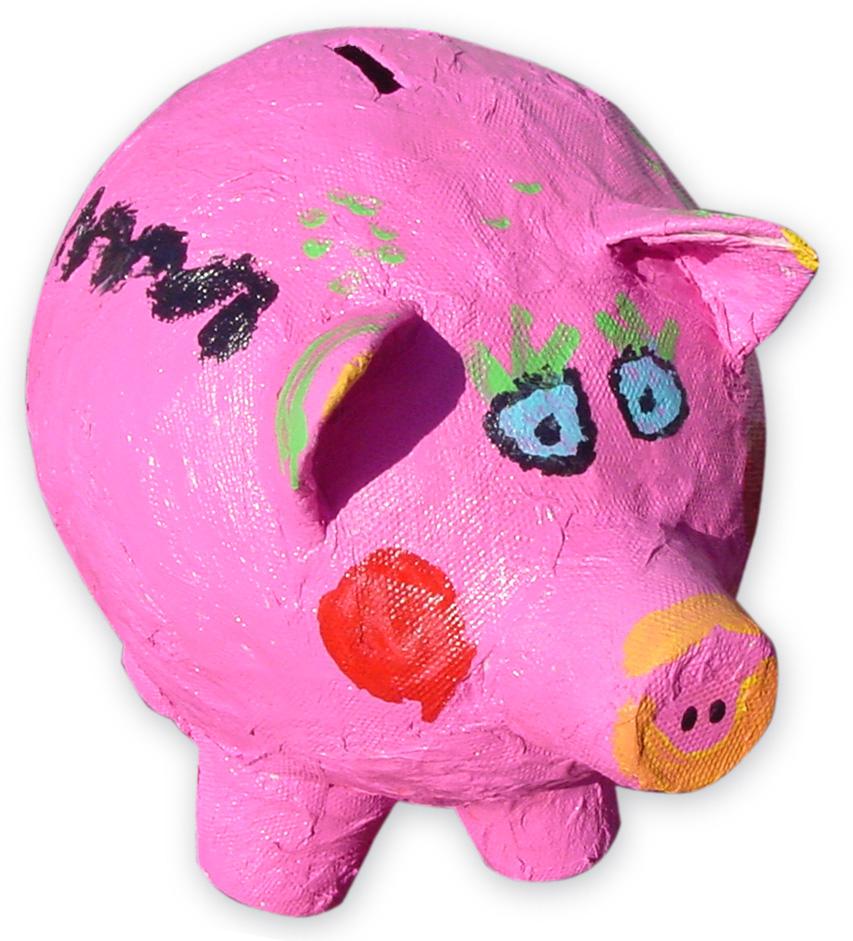 homemade paper mache piggy bank