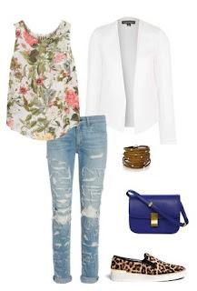 look casual - blazer branco, boyfriendjeans, ténis leopardo, top padrão floral, mala zul a tiracolo
