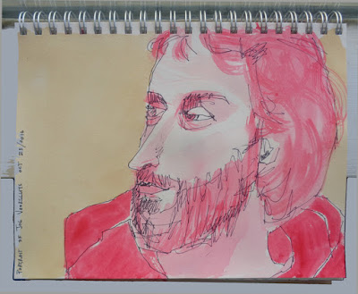 sketchbook portrait of my brother by verna vogel made with sharpie marker and M. Graham gouache