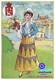 Traje típico de Córdoba - Tipos regionales - Cromos primera mitad siglo XX