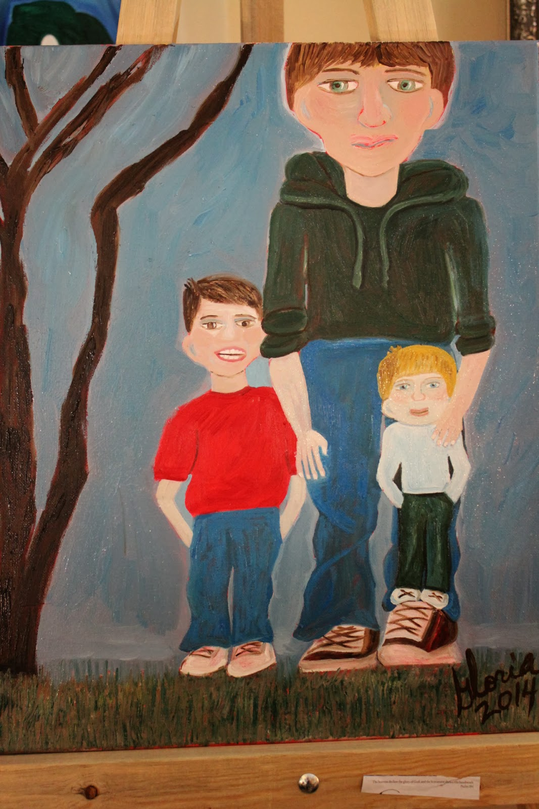 """Brothers and cousins"" oil painting by Gloria Poole of Missouri; 2014"